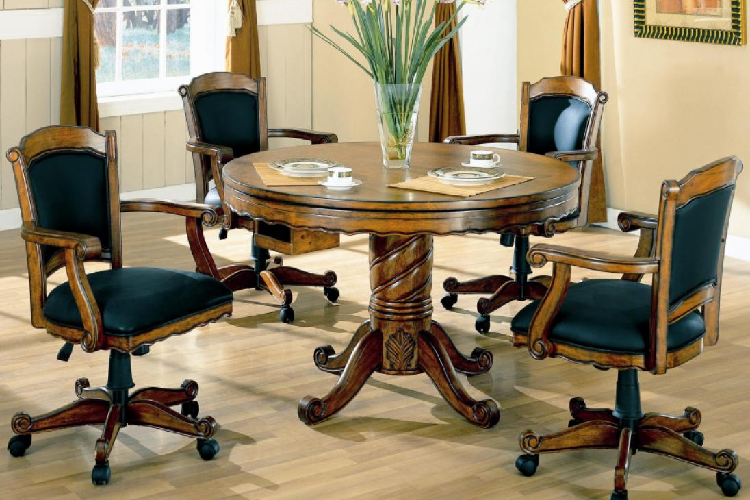 Coaster Mitchell Oak 5 Piece 3 In 1 Game Table Set Alkar